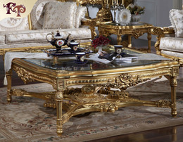 Wholesale Antique furniture manufacturer French classic coffee table with glass top Italian classic coffee table