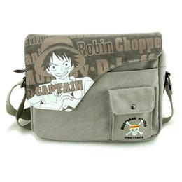 Wholesale New Anime Cartoon image ONE PIECE Monkey D Luffy Skull Heads pattern washing canvas retro Shoulder bag Messenger Bags gifts