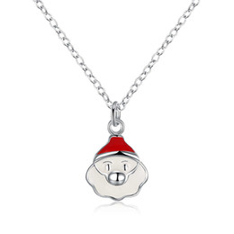 Wholesale Christmas Pendant Necklaces for Women Xmas festival Santa Cute Jewelery for Lady Silver Plated Chain Statement Necklace