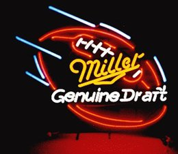 Wholesale Miller Football Neon Sign Real Glass Tube Custom Handcrafted Sport Bar Store Pub Game Advertising Display Neon Signs quot x24 quot