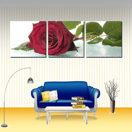 Wall decoration Unframed 3 Pieces art picture free shipping Canvas Prints rose Cartoon flower Lotus leaf