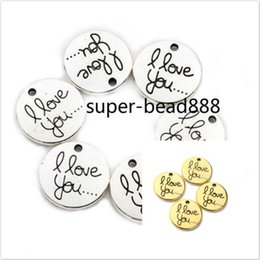 100PCS Antique Silver Gold Round Charms I Love You Charms Pendant For Jewelry Making 20mm