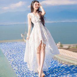 Summer V waist lace collar ladies irregular dovetail Beach Resort Fairy Dress Strapless pleated bag hip skirt