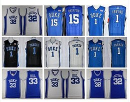 Wholesale 2016 hot sale Duke Blue Devils top quality Christian Laettner Grant Hill Kyrie Irving stitched logo