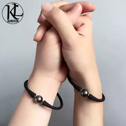 Wholesale Male pearl bracelet lovers jewelry couples Leather Bracelet with mm Tahitian black pearl Bead Bracelet for lovers