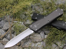 Wholesale Marfione Custom Combat Troodon Recurve out the front Knife T6 Aluminum quot Satin D2 steel Microtech Thumb Slide folding knives