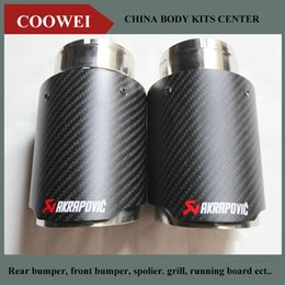 One pair New style Akrapovic 57 mm inlet 101 mm outlet singel Pipe Universal Carbon Fiber Exhaust Tip