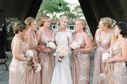 2019 Bling Rose Gold Sequins Bridesmaid Dresses Plus Size Sexy V neck A Line Wedding Party Dress Pageant Formal Bridesmaids Gowns Custom