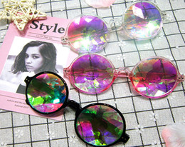 Fashion Geometric Kaleidoscope Glasses Rainbow Rave Lens Bling Bling Prism Crystal Diffraction Sunglasses Black Pink Clear