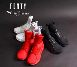 Wholesale 2016 Rihanna Puma Fenty Trainer White Red Black Running Shoes For Women Men Fashion Sport Pumas Fenty Women Sneakers Hightop Attention Size