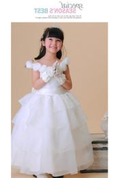 2016 Girl Pageant Dresses Christening Birthday Bridesmaid Party Flower Girl Dress Ivory White Wedding Dress Children Tailing Princess Dress