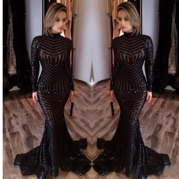 Wholesale Silver Dress Small Train - Sexy black mermaid dress 2017 high neck long sleeve sequins ball gown small trailing dress evening formally