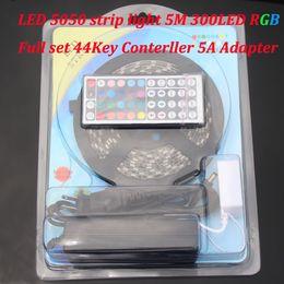 5050SMD RGB led trip Lights + 44key Remote Controller+ 5A Adapter Waterproof IP65 Led string light 5m set 12v led strip