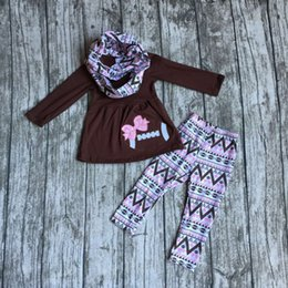 Wholesale baby girls pieces with scarf sets girls brown football clothing Aztec pant set bay girls football boutique set