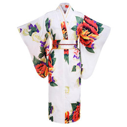 Wholesale White Japanese Women Tradition Yukata Silk Rayon Kimono With Obi Flower Vintage Evening Dress Cosplay Costume One size