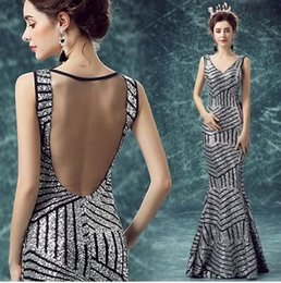 Wholesale New Arrival Hot Sale Fashion Sweety Royal Palace Silver Halter Perspective Married Toast Sequins Annual Dinner Wedding Dress
