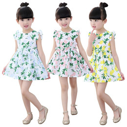 Prettybaby kids girls cute sleeveless princess party dress 3 colors lemon printed girl cool Pastoral style summer sundress Pt0548#