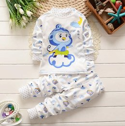 Kids pajamas and pant sets pure cotton boys and girls cartoon long sleeve t-shirt and pant sets 6 styles 2016 autumn clothing.