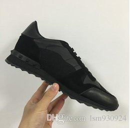 hot sale luxury Brand Women black camouflage men trainers black real genuine leather Unisex Rivets Man sneakers Shoes size: 35-44