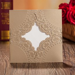 Gold Personalized Custom Printing Laser Cut Hollow Wedding Invitations Flower White Inner Cards Free Envelopes, Seals Wedding Supplies