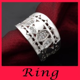 Wholesale Explosion models standard silver personality style exaggerated atmospheric and European style round zircon ring jewelry