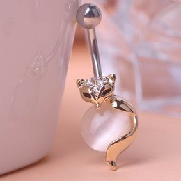 Wholesale New Beautiful Fox Sexy Body Navel Belly Button Piercing Rings White Opal Cat eye stone Beads Fashion Jewelry PC00001