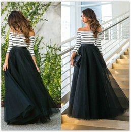 Wholesale 2016 Spring And Autumn New Literary Style Gauze Dress A Shoulder Striped Shirt Black Tutu Maxi Dress Two Piece Dress Skirt B