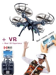 Wholesale 2016 Drones X5SW WIFI RC Drone FPV Helicopter Quadcopter with HD Camera G Axis VR Real D Experience RC Helicopter same as SYMA
