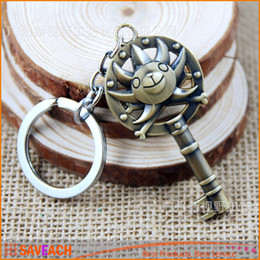 Wholesale Hot Anime Series One Piece Pirates key Bronze Keychains Metal Keyring With Retail Box