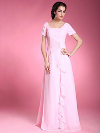 Custom Made Long Chiffon Mother of the Groom Dresses Short Sleeve Beading Ruffles Scoop Neckline Floor Length