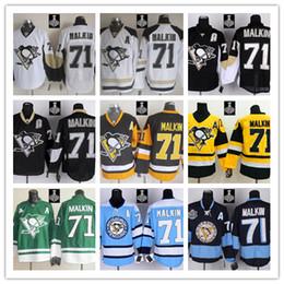 Wholesale Stitched NHL Pittsburgh Penguins Evgeni Malkin Black White Light Blue yellow Blue Hockey Jerseys Ice Jersey do Drop Shipping Mix Order
