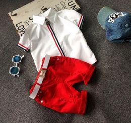 2016 Children Set Kids Suit Outfits baby girls boys Summer short sleeve Stripe tops T shirts+Kids shorts Children clothing kids sets