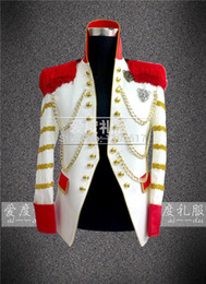 100%real white golden binding vintage medieval tuxedo jacket red and golden decoration  wedding stage performance this is only jacket