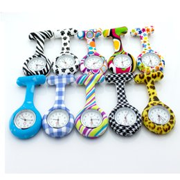 silicone nurse watch fob pocket nursing lapel watch quartz zebra pattern design brand medical nursing doctor gift clock