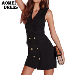 Office Ladies Slim Vest Dress Black Sleeveless Sundress with Button V Neck Office Work Wear Slim Double Button Sexy Workwear Dress Robes