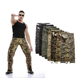 Wholesale NEW MENS CASUAL MILITARY ARMY CARGO camouflage WORK PANTS Men s clothing men camouflage color code more bags Trousers Men Pants