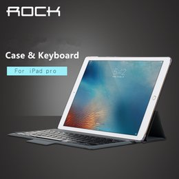 Wholesale High Quality ROCK iPad pro Cases And Wireless Bluetooth Keyboard Black Apple Tablet PC PU Leather Cases And Holder With Retail Package