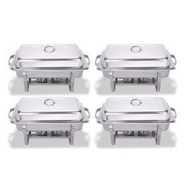 Wholesale 4 Pack Quart Stainless Steel Folding Chafer Rectangular Chafing Dish Sets