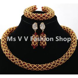 african beads jewelry set handmade red gold fashion african beads nigerian wedding jewelry set for woman girl bridal gift