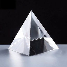 Wholesale 6CM K9 AAA Quartz Crystal Glass Pyramid Paperweight natural stones and minerals crystals Fengshui Figurine For Home Office Decor