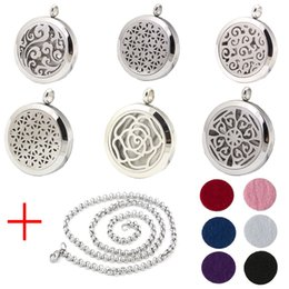 Wholesale New Fashion Perfume Locket L Stainless Steel Essential Oil Aromatherapy Diffuser Locket Pendant Necklace Send Chain Felt Pad Ab