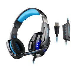 Wholesale Kotion Each G9000 Gaming Headset Headphone USB Surround Sound Earphone mm Stereo Jack Headband with Microphone LED Light