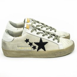Wholesale Italy Deluxe Brand CANGMA Women Men Golden Shoes Basse White Genuine Leather Hemp SSTAR Casual Goose Shoes Uomo Blanche Sapatos