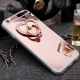 Descuento anillo de metal espejo Caja del teléfono celular del Rhinestone del espejo de la manera para el iphone 6s 6 5s 5 iphone6 más gel de silicona suave Slim TPU 360 grados que giran casos del soporte del anillo