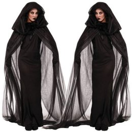 Wholesale Sexy Long Black Women Spooky Witch Costume Adult Party Fancy cloak Dress Halloween Dress Halloween Gifts With pair gloves