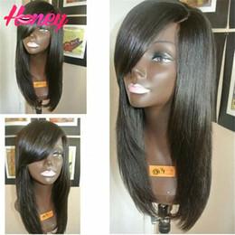 Descuento peluca recta sin cola peruana llena del cordón Peruvian Full Lace Wig Silky Strapless Unprocessed Virgen pelucas de pelo humano Glueless Lace frente peluca con Bangs para las mujeres negras