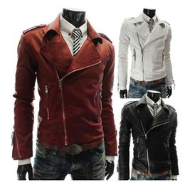 Wholesale Leather Jacket For Large Men - coats for men Personality more zipper Men's large lapel motorcycle leather 2016 hot sell motorcycle suits fashion motorcycle jacket for men