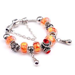 Charms Bracelets Glass & Crystal European Charm Beads Fits Charm bracelets New Fashion Style Bracelets 18-20CM Orange