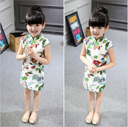 Wholesale Chinese Cheongsam For Sale - Hot sale 2016 ethnic summer green chinese dress kids for girl short sleeve stand collar straight flower dresses cheongsam china supplier