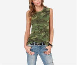 Women's Casual Tops Camouflage Sleeveless T-shirt Slim Stretch Vest TANK